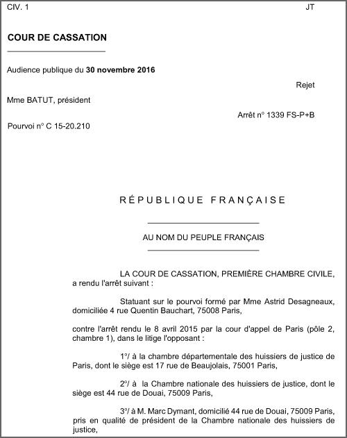 La cour de cassation va l encontre des directives de la - Chambre nationale des huissiers annonce ...